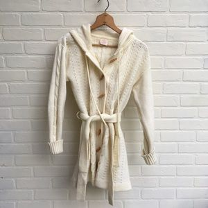 Vintage Cream Knit Sweater with Toggles & Hood